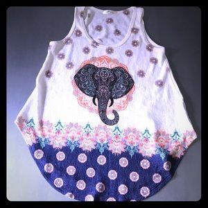 Tribal elephant animal boho aztec flowy tank shirt